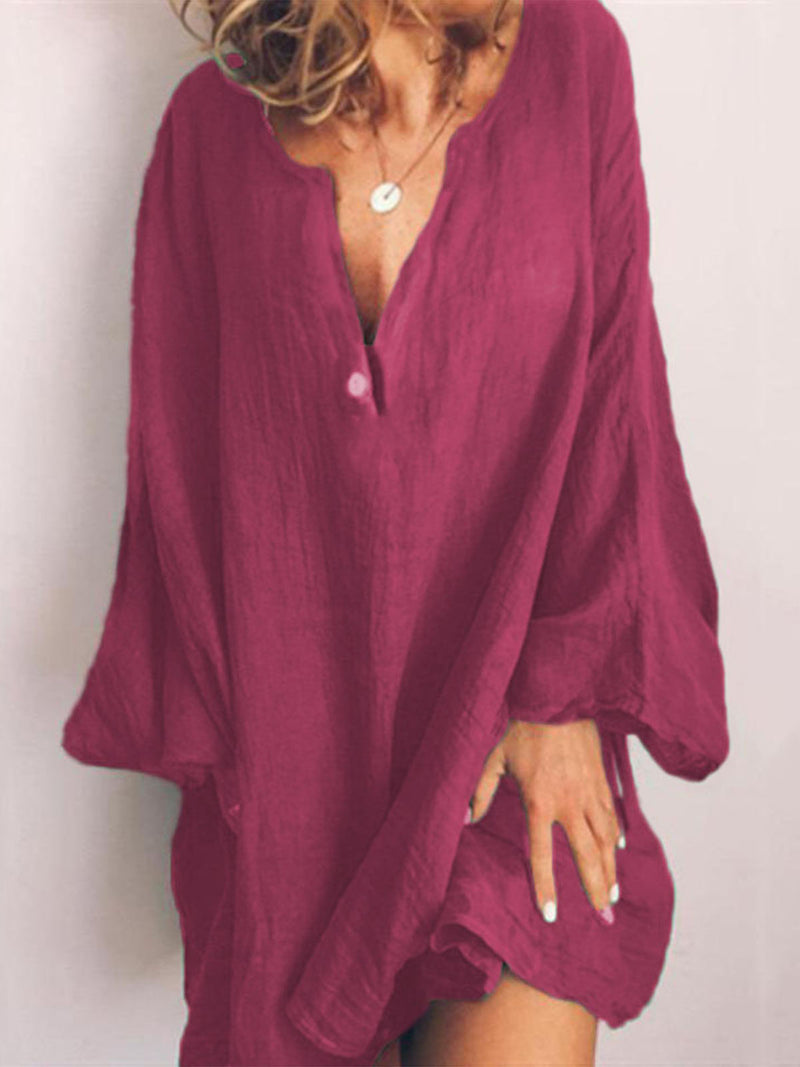 Linen Long Sleeve Sweet Dresses
