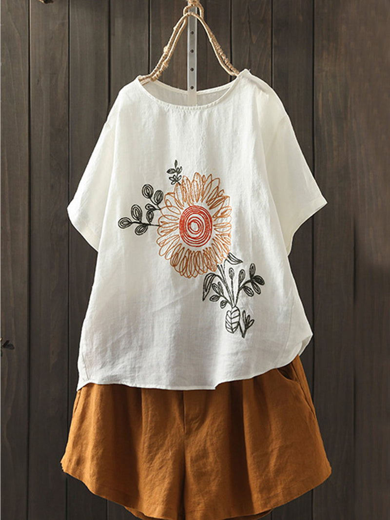 Short Sleeve Embroidery Shirts & Tops