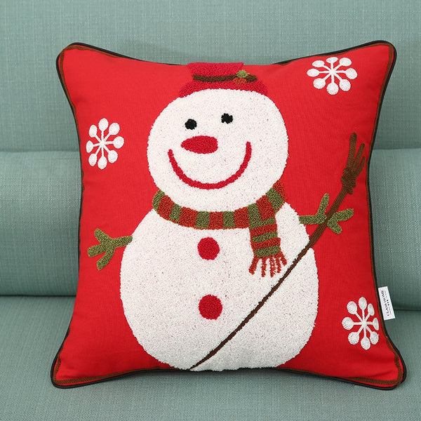 Fashion Cartoon Snowman Christmas Snowflake Embroidery Cushion Cover Pillow Case