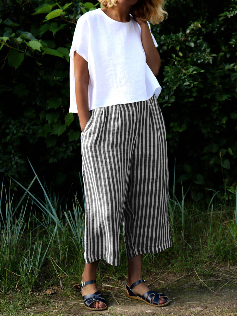 Striped Printed Casual Cotton-Blend Pants
