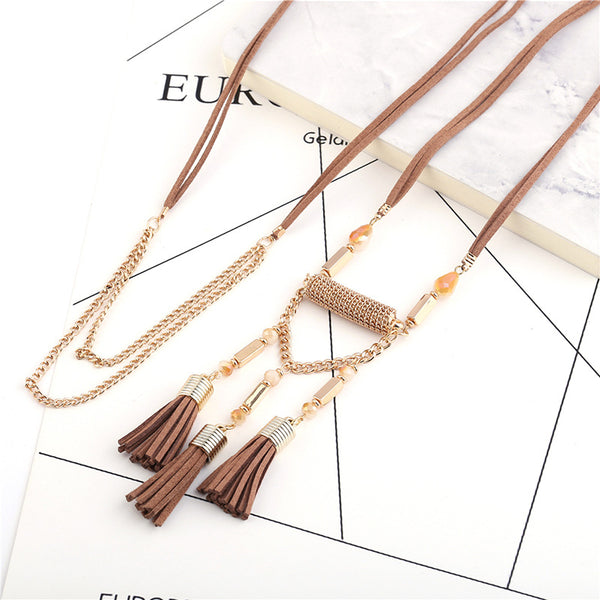 Bohemian Retro Handmade Velvet Leather Rope Tassel Long Necklace
