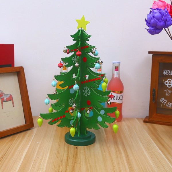Wooden Artificial Christmas Tree Decorations Wood Mini Christmas Trees Table Decoration