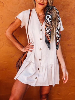 Women  V-neck Short  Sleeve  Solid  Buttoned  Casual Mini Dress