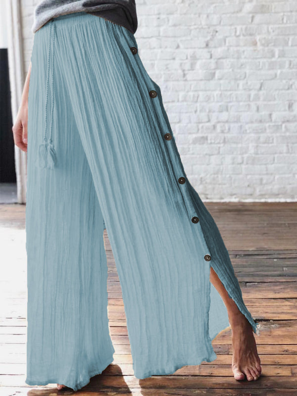 Women  Solid  Pleated  Loose  Casual Pants