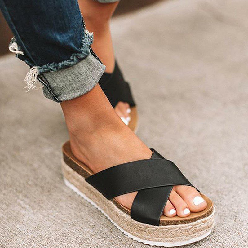 Women Plus Size Peep Toe Platform Sandals Slip-On Slippers