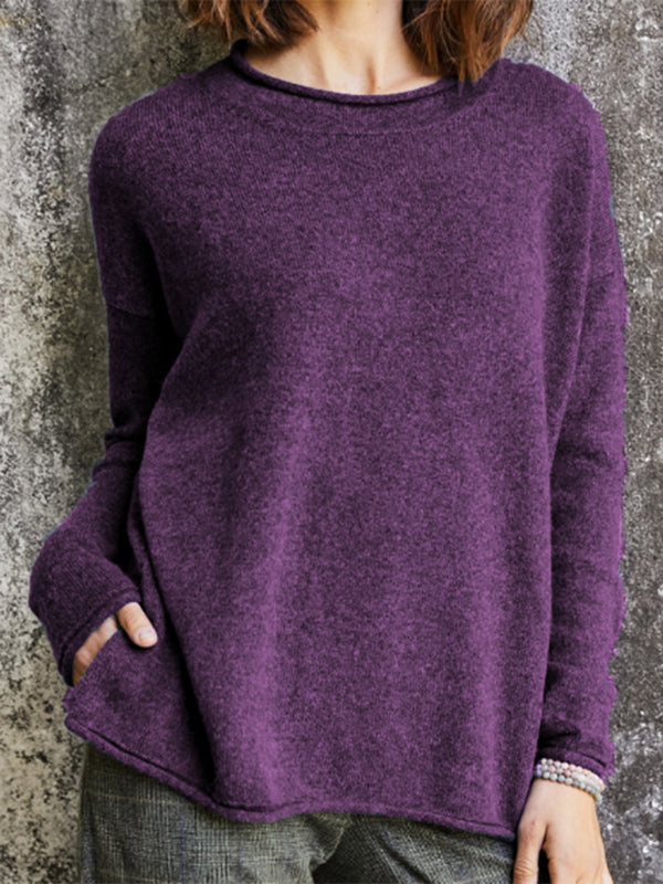 Women Casual Long Sleeve Sweater Long Sleeve Pullover Pure Color Sweater