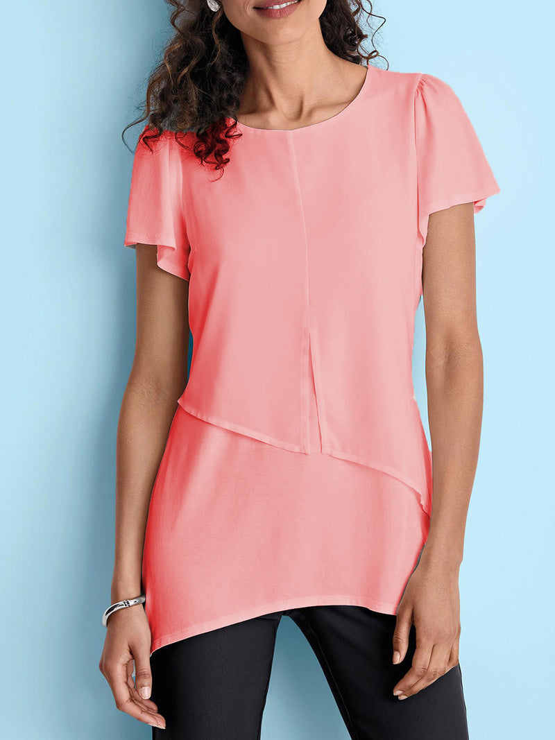 Chiffon Casual Round Neck Short Sleeve Shirts & Tops