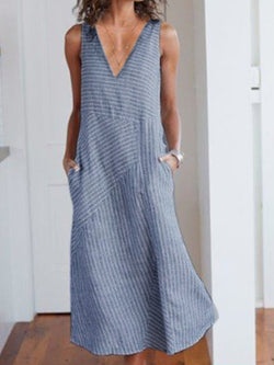 Casual Sleeveless Cotton-Blend Dresses