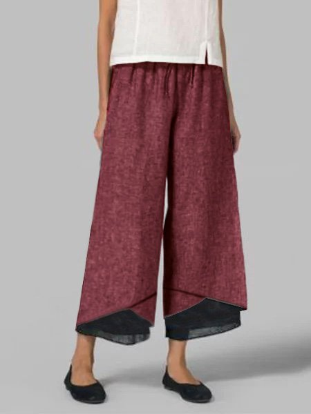 Casual Plus Size Patchwork Pants