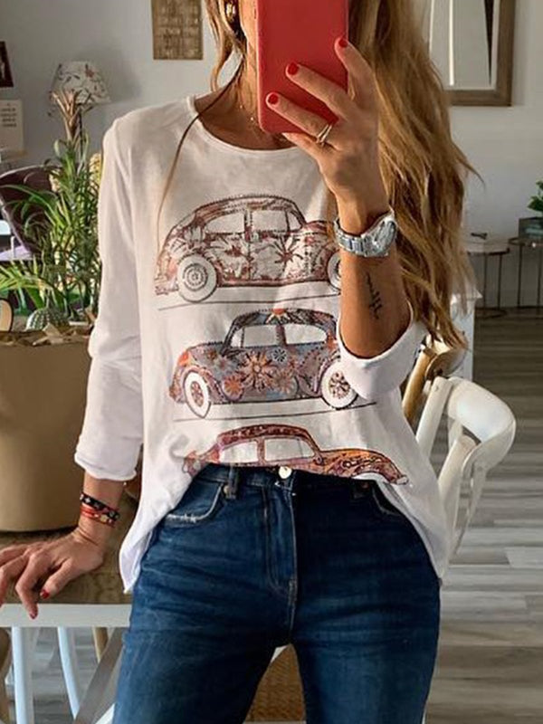 Short Sleeve Round Neck Cotton Casual Tops