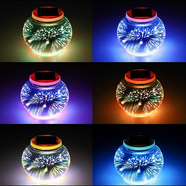Outdoor Color Changing 3D Glass Ball Solar Powered Garden Lights for Garden Yard Festival Decorations