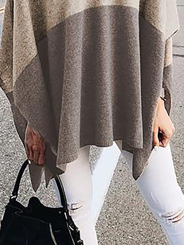 Khaki Cotton V neck Solid Elegant Batwing Sweater