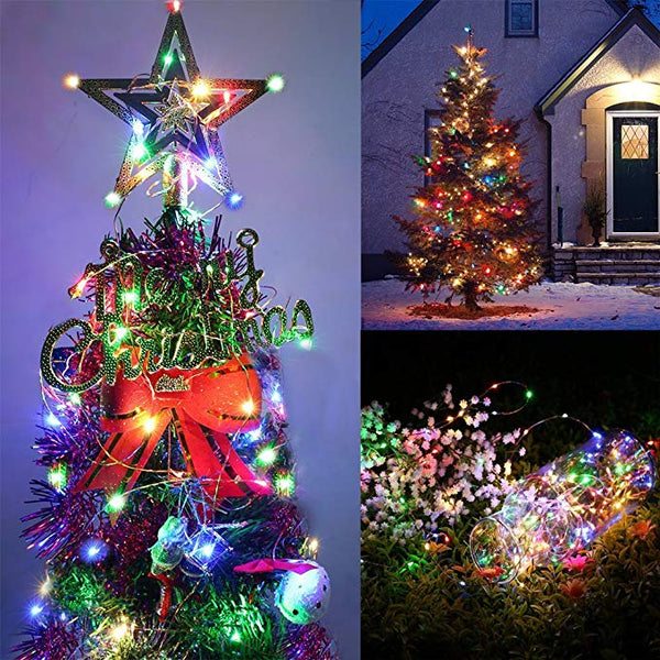 Color Solar Powered LED String Lights 200 LEDs Color Changing 8 Modes Waterproof  Decorative Lights