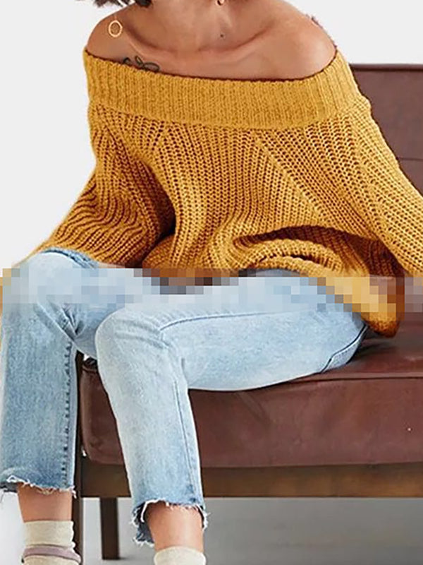 Balloon Sleeve Off Shoulder Knitted Winter Sweaters