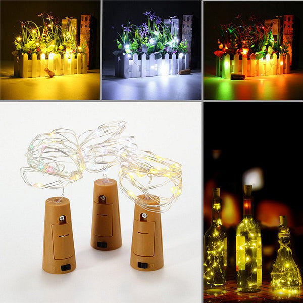 Battery Powered 15 LEDs Cork Shaped LED Sliver Wire Starry String Light Wine Bottle Lamp Xmas Party