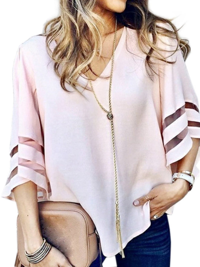 Women's Loose Solid Color Tops Mesh V-neck Paneled Bell Sleeve Shirts