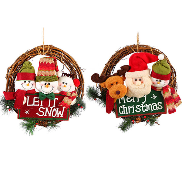Christmas Wreath Christmas Vine Wreath Door Hang Santa Snowman Deer Christmas Ornament Wreath