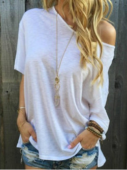 Straight shoulder casual solid color short-sleeved T-shirt