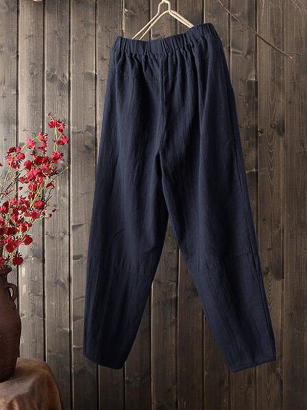 Buttoned Solid Linen Bottoms