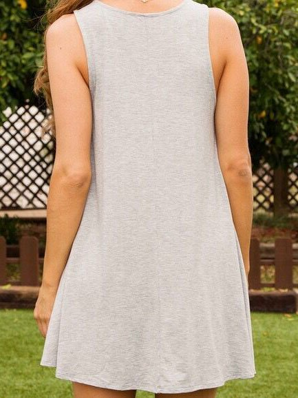 Summer Cotton&Linen Light Gray Sleeveless A-Line Dresses