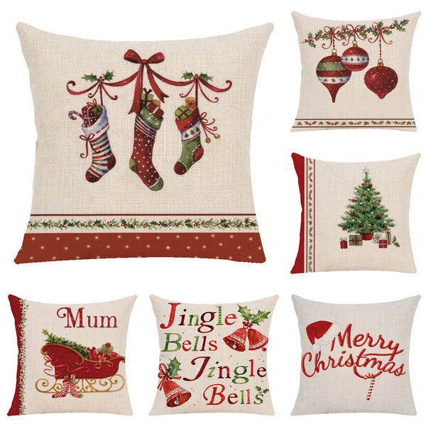 Christmas Pillow Case Cushion Cover for Home Office Car Decor