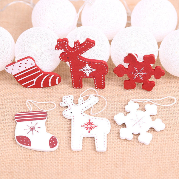 Christmas Decorations Wood Pendants  Elk Snowflake Wood Pendants Tree Ornaments