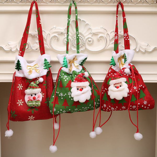 Christmas Applique Candy Gift Re-Usable Wrapping Xmas Tree Hanging Bag Decor