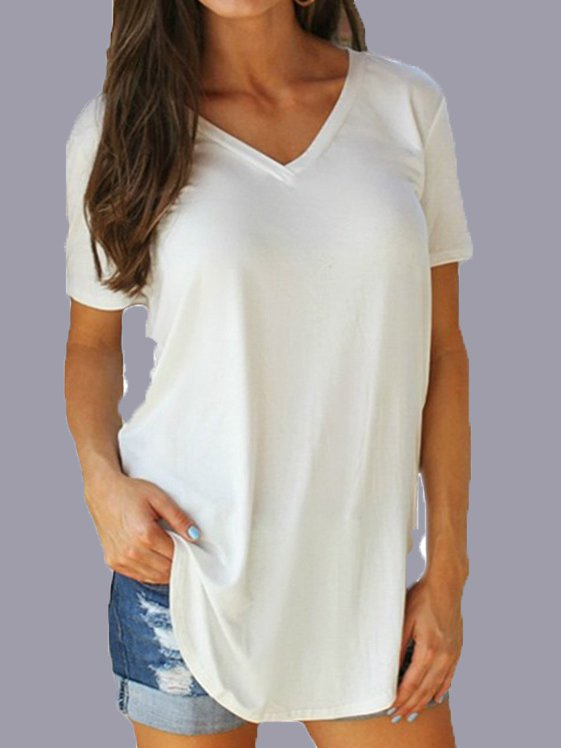 V Neck Solid Casual Cotton Shirts & Tops