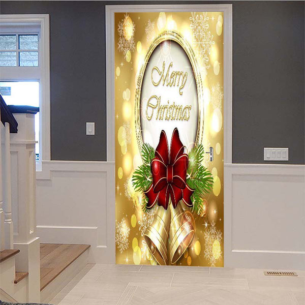 Christmas Style 3D Creative Door Renovation and Self-adhesive Home Door Sticker