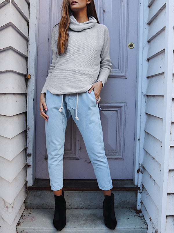 Casual Long Sleeve Shift Cowl Neck Knitted Sweater