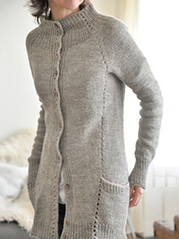 Light Grey Cotton Long Sleeve Sweater