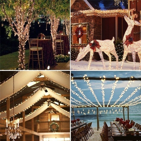 Outdoor Solar Powered Copper Wire LED String Lights For Party Wedding Christmas Holiday Garden Home Decoration