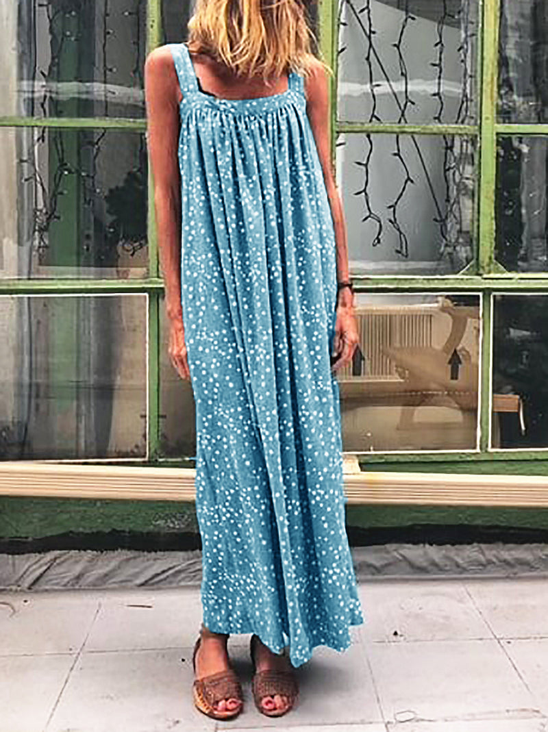 Square Neck Polka Dots Maxi Dresses