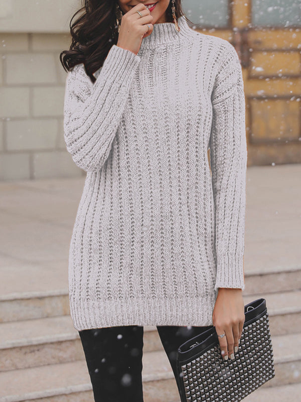 Casual Long Sleeve Turtle Neck Sweaters