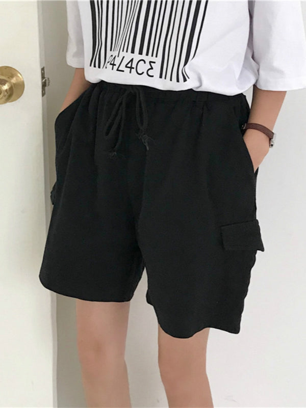 Casual Plus Size Solid  Cotton Shorts