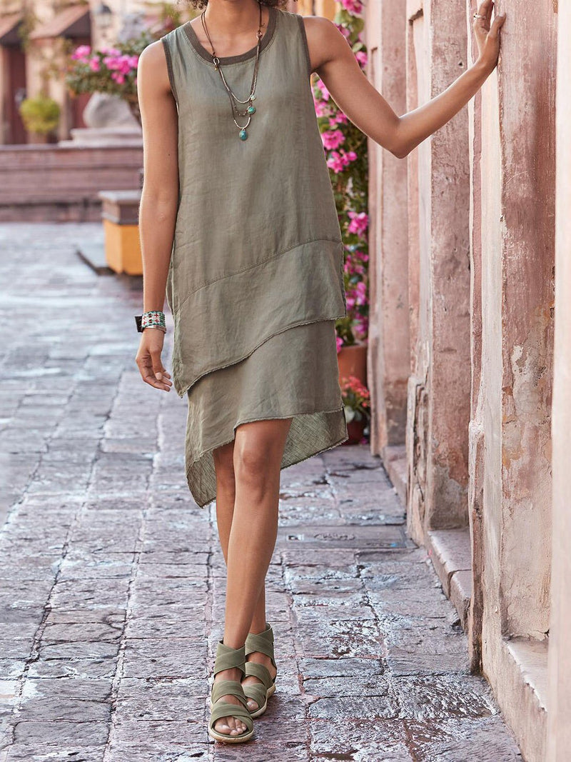 Cotton-Blend Solid Crew Neck Sleeveless Dresses