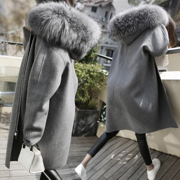 Plus Size Autumn Winter Women Big Fur Collar Woolen Loose Long Overcoat