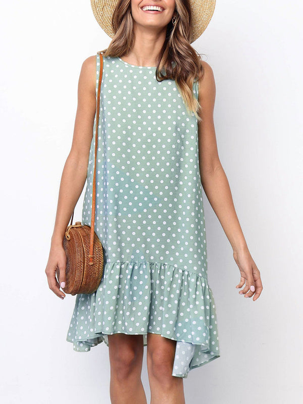 Casual Polka Dots Round Neck Sleeveless Dresses