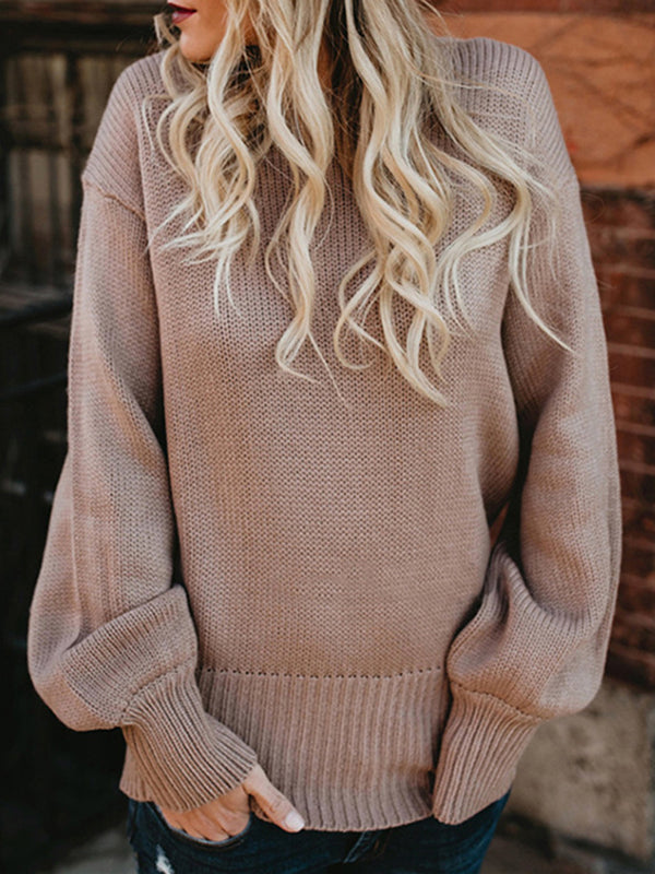 Casual Solid Long Sleeve Knitted Lace up Bow Crew Neck Sweater