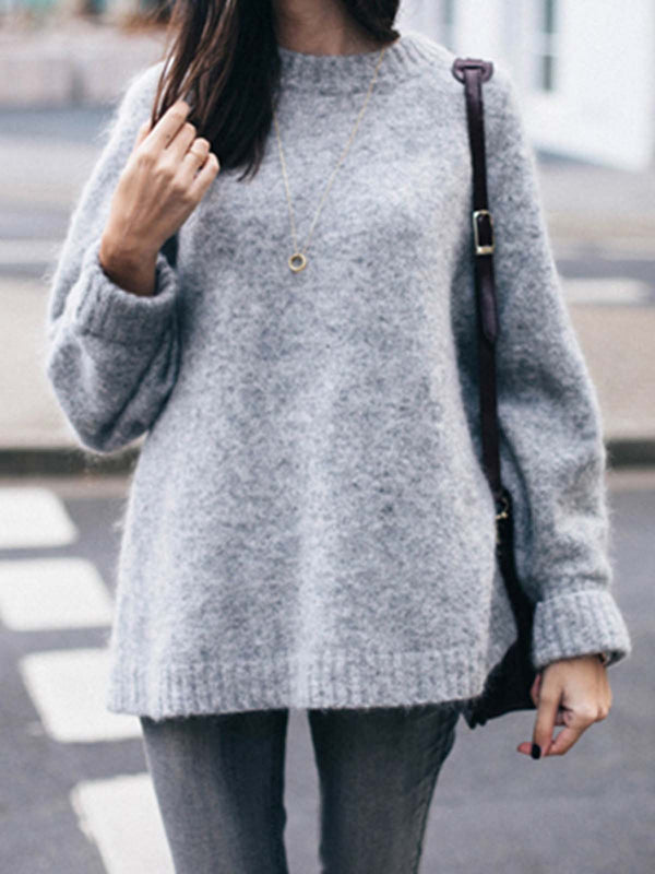 Long Sleeve Casual Knitted Solid Plus Size Sweater