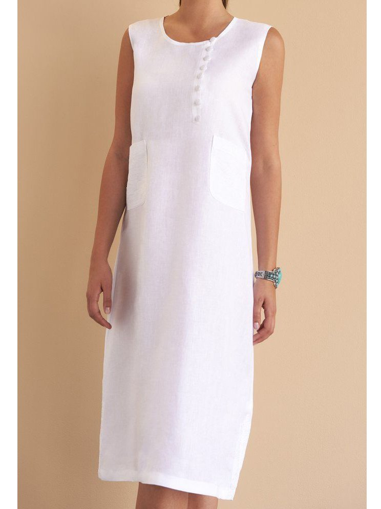 Pockets Linen Sleeveless Casual Dresses
