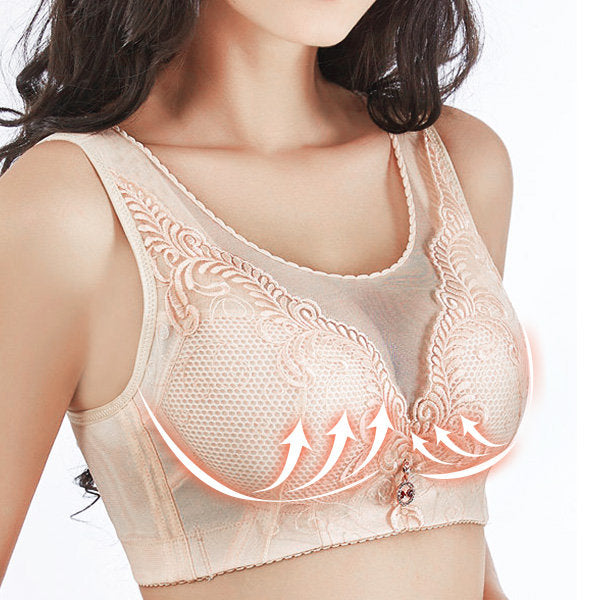 Embroidery Full Busted Wireless Push Up Cami Bras Nude