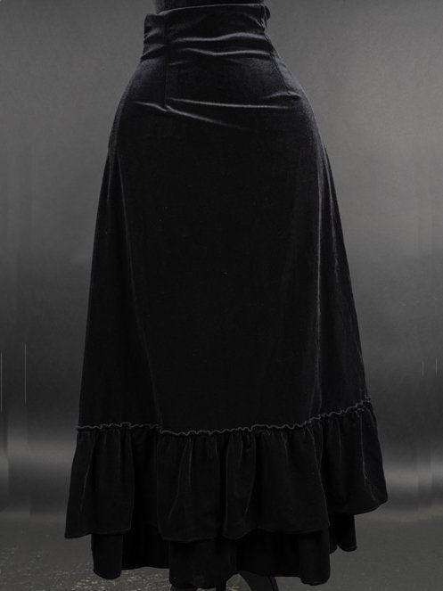 Black Casual Velvet Plain Skirts Halloween Customes Plus Size