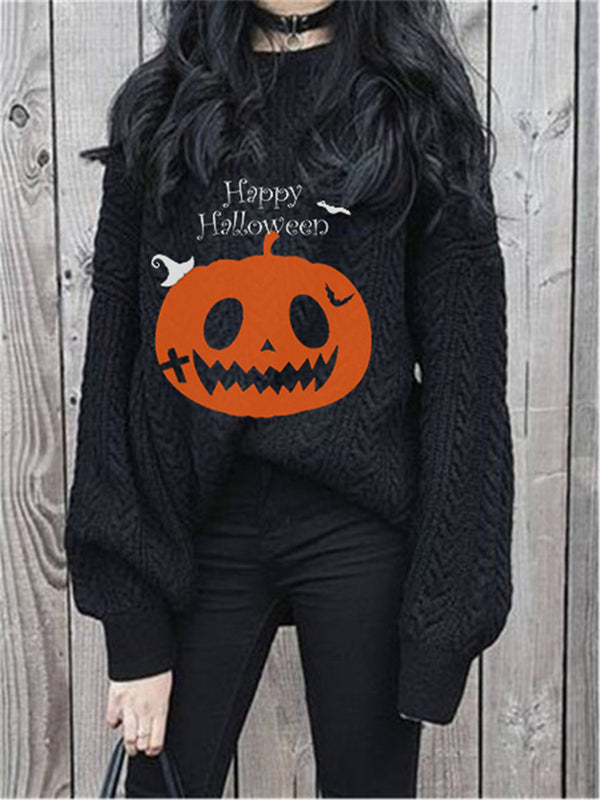 Halloween Floral-Print Long Sleeve Sweater