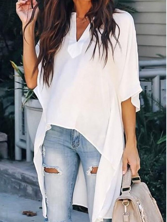 Casual Half Sleeve Cotton-Blend V Neck Shirts & Tops