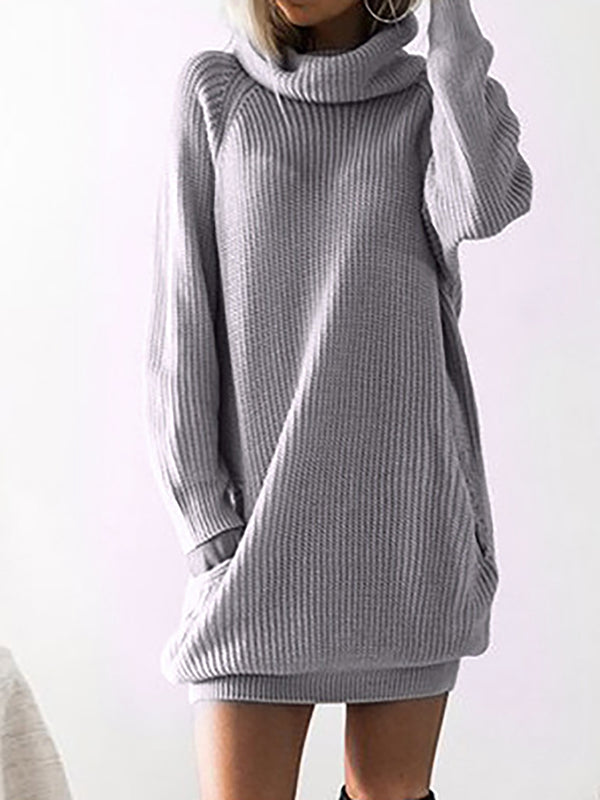Turtleneck  Shift Women Daily Cotton Elegant Casual Dress