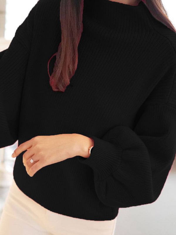 Simple Solid Ribbed Balloon Sleeve Turtleneck Sweater