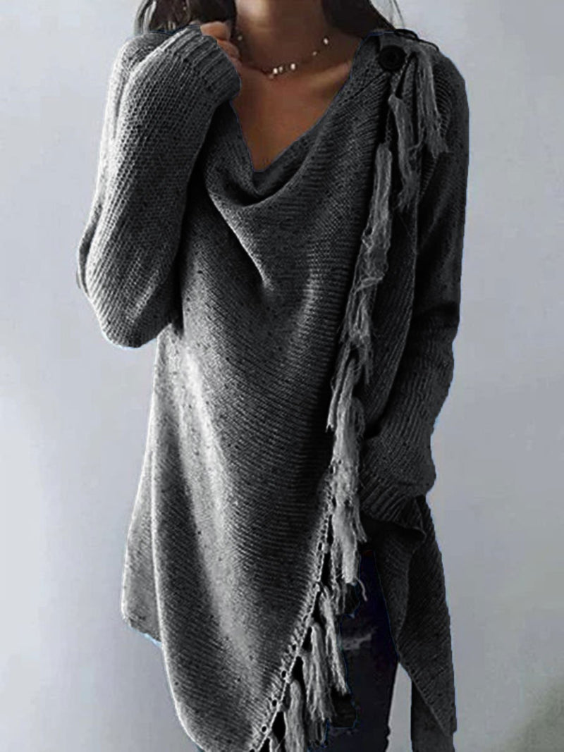 Long Sleeve Cowl Neck Plain Cotton-Blend Shirts & Tops