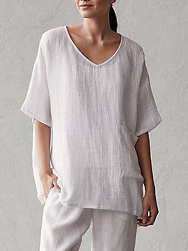 Solid Short Sleeve V Neck Blouse