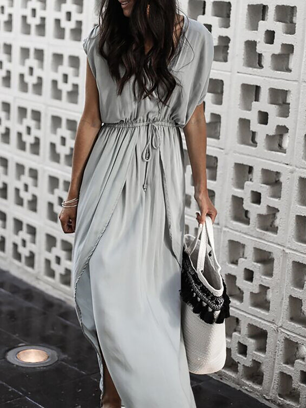 V neck Gray Swing Women Basic Short Sleeve  Summer Dress